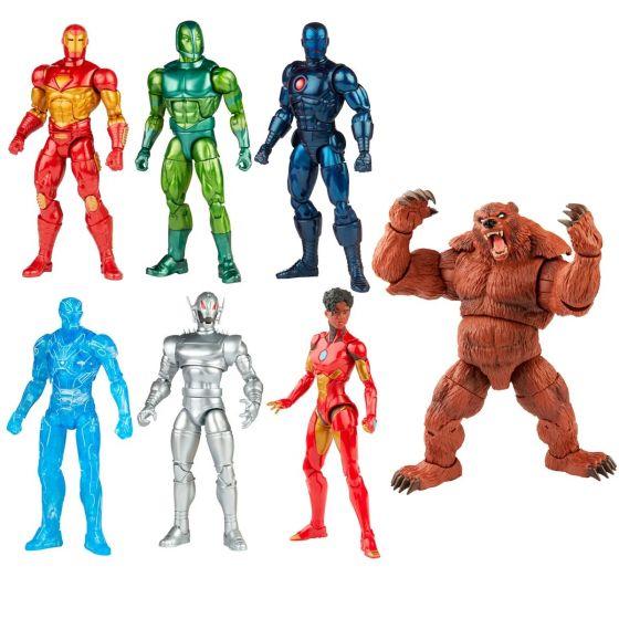 "Marvel Comic Legends 6"" Iron Man Wave 1 Case of 8 Figures (Modular Iron Man, Darkstar, Vault Guardsman, Stealth Iron Man, Hologram Iron Man, Ironheart, Ultron, Ursa Major BAF). Preorder. Start Shipping on 1st August 2021."