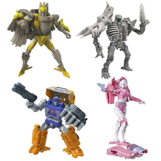 Transformers Generations Kingdom Deluxe Wave 2 Set of 4. (HUFFER, AIR RAZOR, RACTONITE, ARCEE). Available Now!