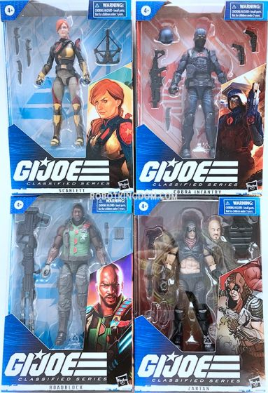 G.I. Joe Classified Series 6-Inch Action Figures Wave 3 Case of 6. (ZARTAN, COBRA INFANTRY, Roadblock and Scarlett). Available Now!