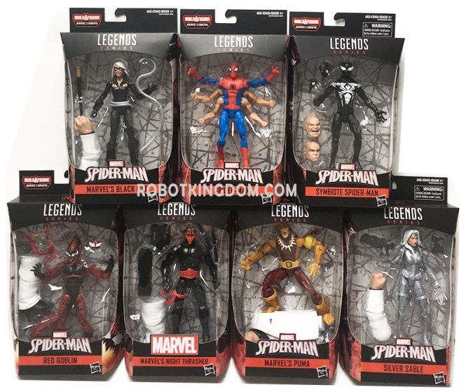 "Marvel Legends Spiderman 6"" Infinite Legends Wave 9 Case of 8 (Six Arm Spiderman, Symbiote Spiderman, Black Cat, Silver Sable, Puma, Night Thrasher, Red Goblin). Available Now!"