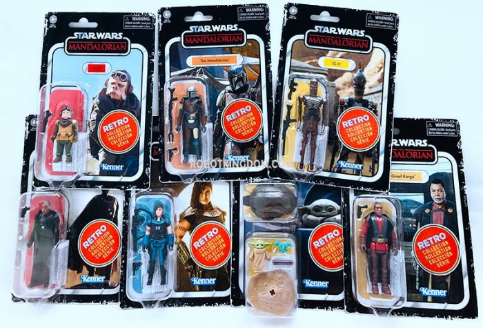 Star Wars The Mandalorian The Retro Collection Action Figures Wave 1 set of 8 (The Mandalorian, Cara Dune, IG-11, Kuiil, The Child, Moff Gideon, Greef Karga).  Available Now!