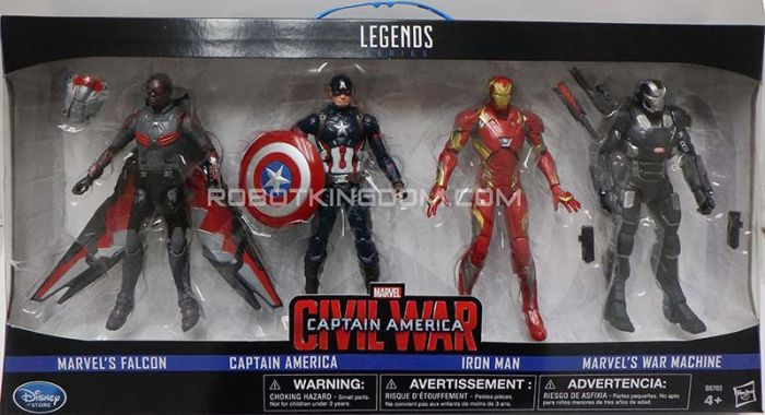 Marvel Legends Disney Store Exclusive Captain America 4 Pack (Captain America, Ironman, Warmachine, Falcon). Available Now!