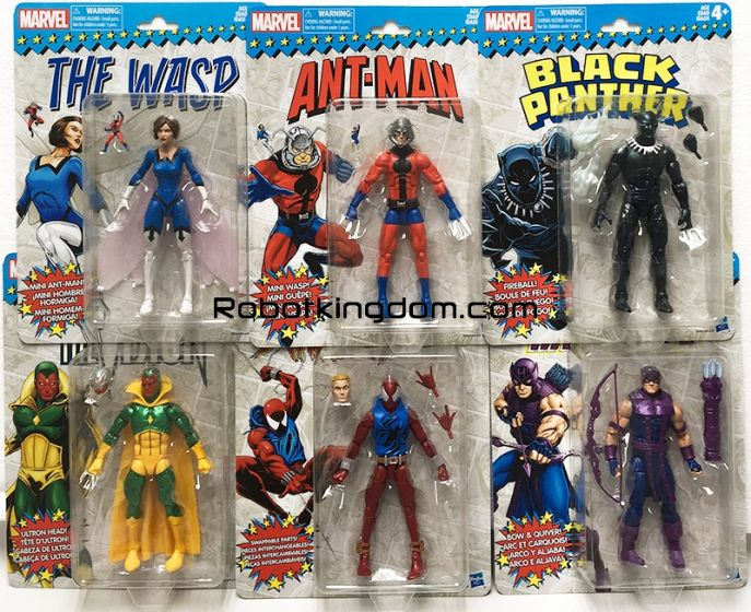 Marvel Legends 6 inch Super Heroes Vintage Assortment Case of 6.(BLACK PANTHER, SCARLET SPIDER MAN, VISION, HAWKEYE, WASP, ANT MAN ). Available Now!