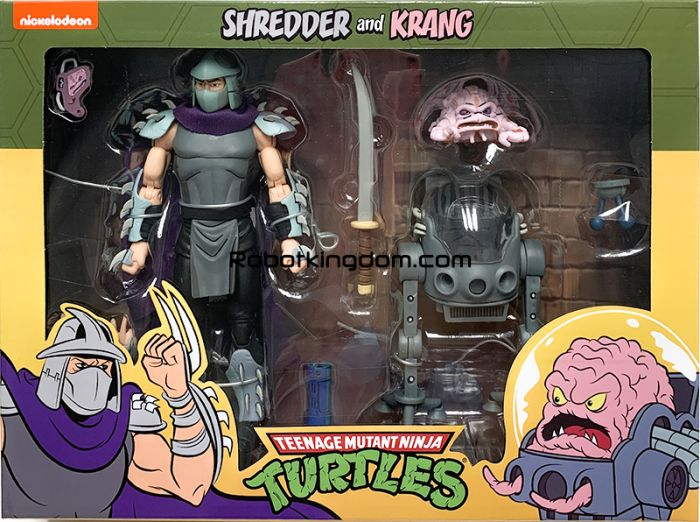 "Neca Teenage Mutant Ninja Turtles – 7"" Scale Action Figure – Cartoon Shredder vs Krang in Bubble Walker 2 Pack. Available Now!"