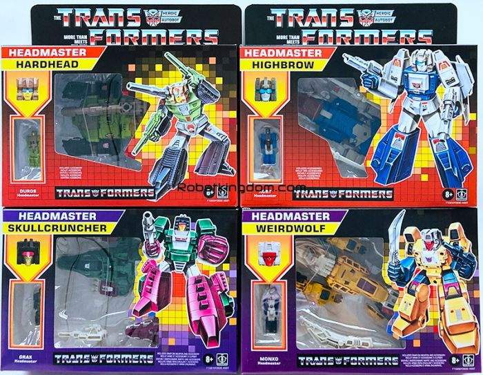 Transformers Generations DELUXE HEADMASTERS RETRO Wave 2 set of 4 (HARDHEAD, HIGHBROW, WEIRDWOLF,SKULLCRUNCHER). Available Now!
