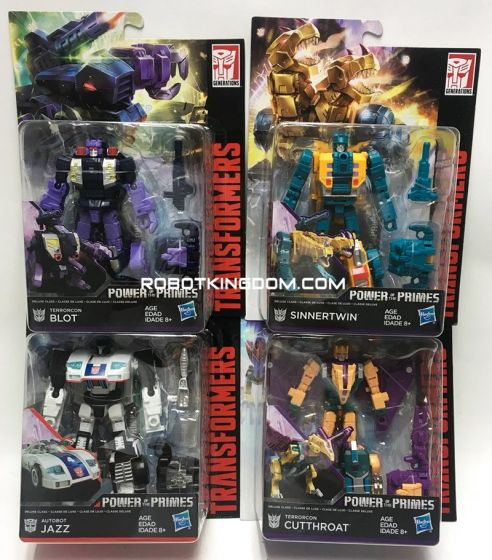 Generations 2018 Power of the Prime DELUXE Wave 3 set of 4. (AUTOBOT JAZZ, TERRORCON CUTTHROAT, TERRORCON BLOT, TERRORCON SINERTWIN). Available Now!