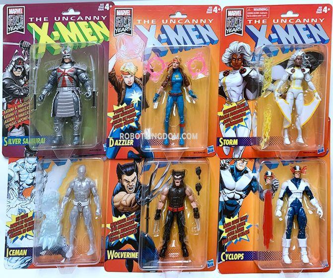Marvel Legends Retro Vintage Card 2019 Wave 1 case of 6 (Wolverine, Silver Samurai, Cyclops, Dazzler, Storm, Iceman). Available Now!