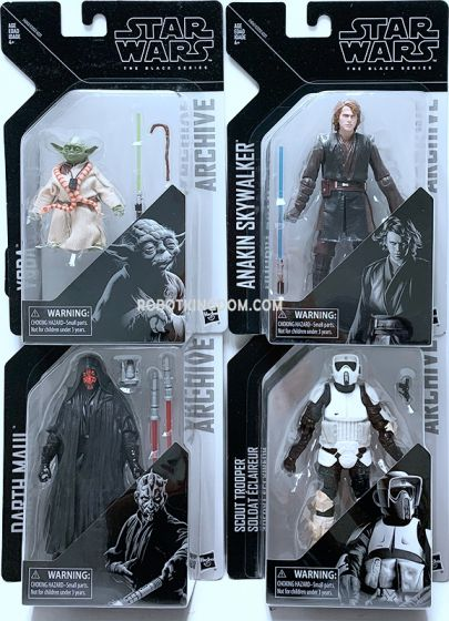 Star Wars BLACK SERIES GREATEST HITS Assortment set of 4. (Darth Maul, Anakin Skywalker, Yoda, Biker Scout). Available Now!