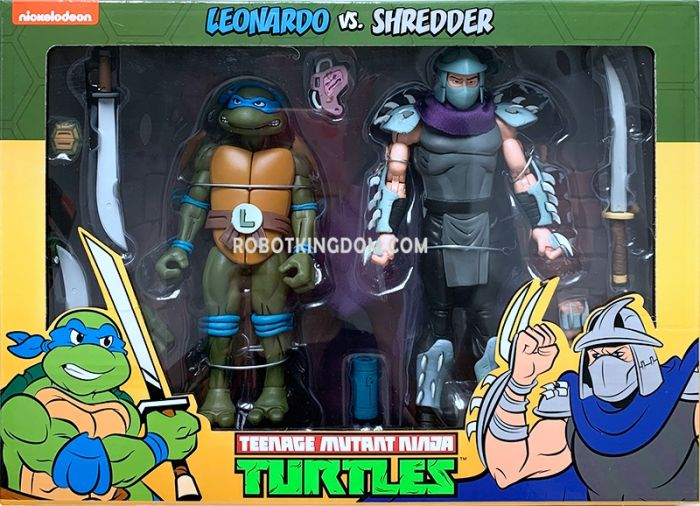 "NECA Teenage Mutant Ninja Turtles 7"" Cartoon Leonardo vs Shredder 2 Pack. Available Now!"