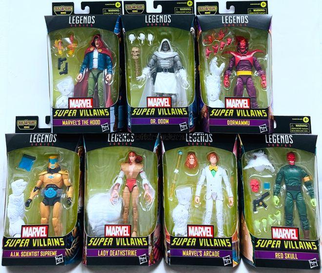 """Marvel Legends Super Villains 6"""" Action Figures Wave 1 Case of 8 (Dr. Doom, Red Skull , The Hood , Lady Deathstrike, Arcade, A.I.M. Scientist Supreme, Dormammu, Xenmu BAF). Available Now!"""