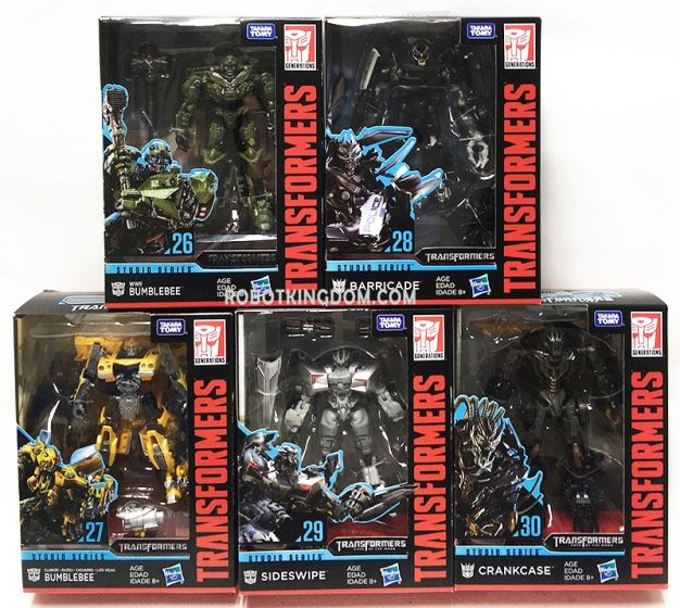 Hasbro Transformers Studio Series DELUXE Wave 4 Case of 8 (Sideswipe, Barricade, Clunker Bumblebee, WWII Bumblebee, Crankcase). Available Now!