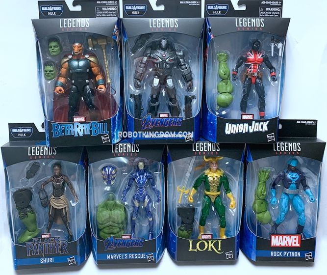 "Hasbro Avengers Endgame Marvel Legends 6""  2019 Wave 2 Case of 8 with BAF Hulk(War Machine Mark 6, Iron Rescue, Shuri, Beta Ray Bill, Loki, Union Jack, Rock Python). Available now!"
