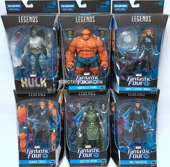 Fantastic Four Marvel Legends Wave 1 Set of 6 Figures (HUMAN TORCH, HULK, THING, INVISIBLE WOMAN, DOCTOR DOOM, MR FANTASTIC, Super Skrull BAF). Available Now!