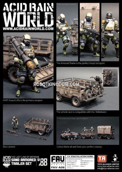 Acid Rain World FAV-FAV-A06 Sand Armored Trailer Set. Available Now!