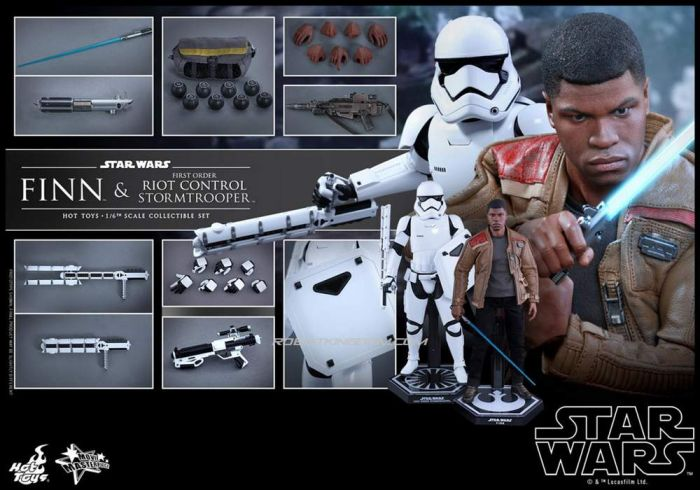 Hot Toys MMS346 Star Wars The Force Awakens Finn & First Order Riot Control Stormtrooper.