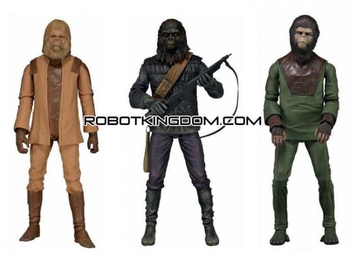 """NECA 7"""" Classic Planet of The Apes Figure Series 01 - Set of 3."""