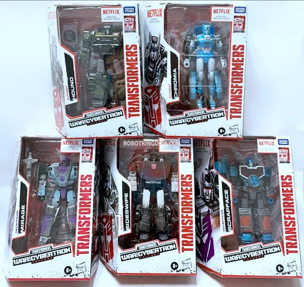 Exclusives Transformers Netflix Siege of Cybertron Deluxe case of 8. (MIRAGE, SCRAPFACE, SIDESWIPE, HOUND, CHROMIA). Available Now!