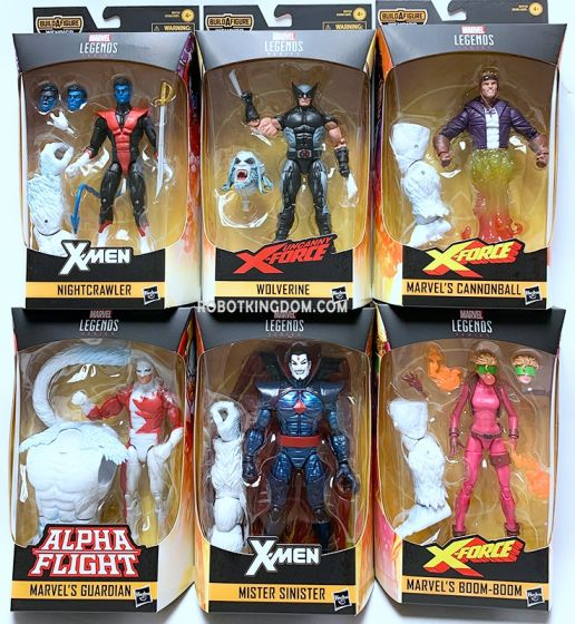 """Marvel Legends 6"""" X-Force Action Figures Wave 1 set of 8 (Wolverine, Cannonball, Boom Boom, Nightrcrawler, Mister Sinister, Guardian). Available Now!"""