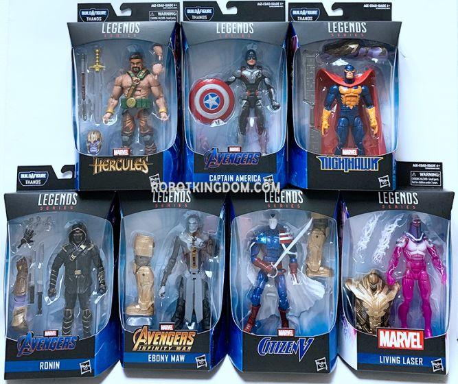 """Hasbro Avengers Endgame Marvel Legends 6"""" 2019 Wave 1 set of 7 (Living laser, Citizen V, Ebony Maw, Ronin, Marvel's Hercules, Marvel's Nighthawk). Available Now!"""