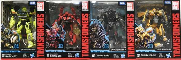 Hasbro Transformers Studio Series DELUXE Wave 1 set of 4 (STRYKER, STINGER, RATCHET, CROWBAR). Available Now!