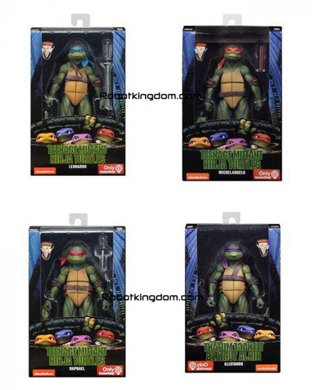 "NECA Teenage Mutant Ninja Turtles – 7"" Scale Action Figure set of 4. (1990 Movie Leonardo, 1990 Movie Michelangelo, Raphael, Donatello) Preorder. Available in September 2019."