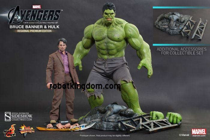 Hottoys Movie Masterpiece MMS230 Avengers 1/6 Hulk and Bruce Banner. Last Pcs. Shipping Included!